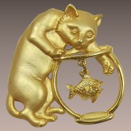 J.J. Jonette Jewelry Cat and Fish and Fishbowl Pin