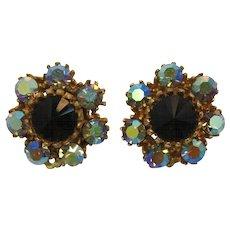 Blue Aurora Borealis and Black Rivoli Rhinestone Earrings