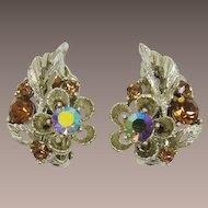 Lisner Leafy Earrings with Smoky Topaz Rhinestones