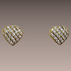 Sterling Silver with Gold Wash Heart Shaped Earrings