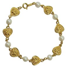 Avon Heart and Imitation Pearl Bracelet