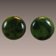 Marbled Dark Green Bakelite Disc Pierced Earrings