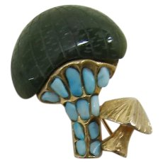 Swoboda Double Mushroom Pin with Carved Jade Cap