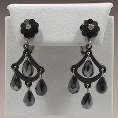 Black Japanned and Dangling Hematite Glass Bead Earrings