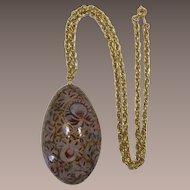 Beautiful Vogue Large Hand-Painted Egg Pendant Necklace