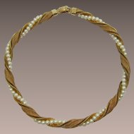 Napier Twisted Mesh and Imitation Pearl Necklace