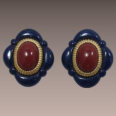 "Avon ""Arabesque"" Imitation Lapis Earrings - Book Piece"