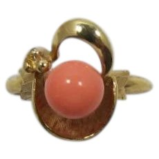Avon Gold-tone and Imitation Coral Ring