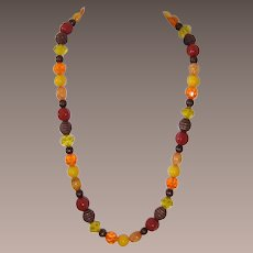 Monet Orange, Topaz, Neon Yellow Acrylic Beaded Necklace