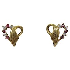 Pink-Red and Clear Rhinestone Heart Earrings