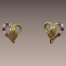 Pink-Red and Clear Rhinestone Heart Earrings