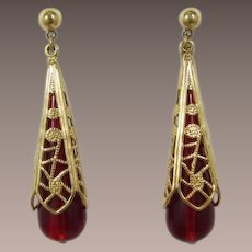 Avon Long Ruby-Red Dangling Pierced Earrings