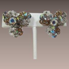 Vendome Colorado Topaz, Grey and Clear Aurora Borealis Beaded Earrings