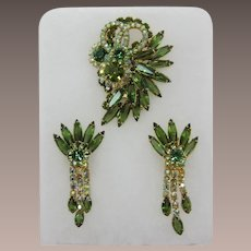 DeLizza and Elster Juliana Spiky Green Tourmaline Brooch and Earrings Set