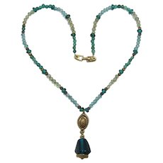 Napier Pendant Necklace with Teal and Aquamarine Beads