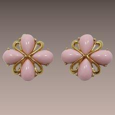 Trifari Pale Pink Pear-shaped Cabochon Earrings