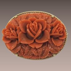 Imitation Carved Coral Celluloid Flower Brooch