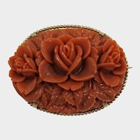 Beautiful Coral Celluloid Flower Brooch