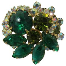 Juliana / DeLizza and Elster Tiered Green and AB Rhinestone Brooch