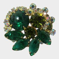 DeLizza & Elster / Juliana Tiered Green and AB Rhinestone Brooch