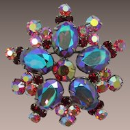 Juliana / DeLizza and Elster Large Purple and Blue Heliotrope Rhinestone Brooch