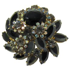 DeLizza and Elster aka Juliana Black and Grey Striped Navette Brooch