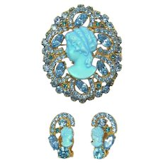 DeLizza & Elster Juliana Iridescent Aquamarine Cameo Brooch & Earrings Set