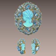 DeLizza and Elster Juliana Iridescent Aquamarine Cameo Brooch & Earrings Set