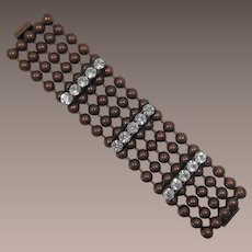DeLizza and Elster Bronze-tone Ball Chain Bracelet with Large Rhinestones - Frank DeLizza's Archives