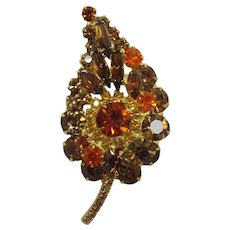 DeLizza & Elster / Juliana Topaz and Madeira Rhinestone Brooch