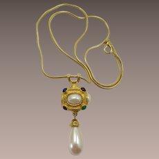 1980's Renaissance Style Pendant with Large Imitation Pearl Drop