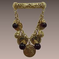 1980's Filigree Bar Pin with Dangling Coins and Beads