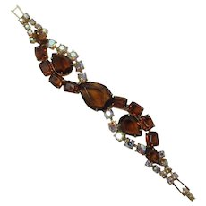 Smoky Topaz Large Pear-Shaped Rhinestone Bracelet