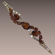 Smoky Topaz Large Pear-Shaped Rhinestone Bracelet