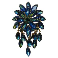 DeLizza and Elster Juliana Blue Heliotrope Dangling Brooch.Pendant