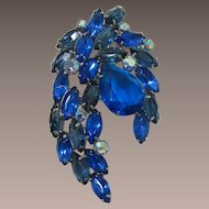 DeLizza and Elster Juliana Large Spray Brooch with Blue-Teal Rhinestone
