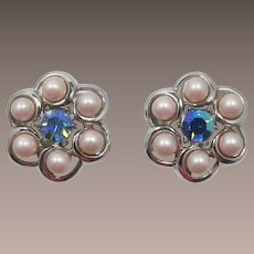 Trifari Pink Pearl and Blue AB Rhinestone Earrings