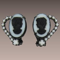 DeLizza and Elster Juliana Black and White Cameo Earrings