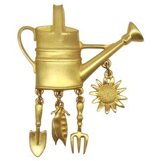 J.J. Jonette Jewelry Watering Can Pin with Dangling Charms