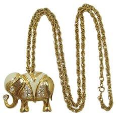 KJL Kenneth Lane for Avon Lucky Elephant Brooch Pendant Necklace