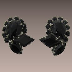 DeLizza and Elster Juliana Black Rhinestone Earrings