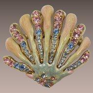 St. John Pale Pink and Blue Rhinestone Shell Brooch