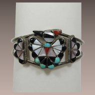 Zuni NIIKA or NIIHA Sterling Silver Thunderbird Bracelet with Inlaid Semi-Precious Stones