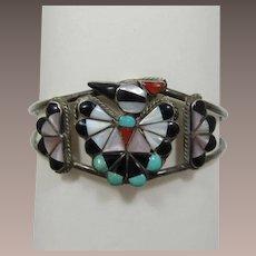 Zuni NIIKA or NIIHA Sterling Silver Thunderbird Bracelet with Inlaid Semi-Precious Stones