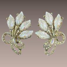 Pell Earrings with Iridescent Leaves and Aurora Borealis Rhinestones