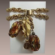 Napier Double Link Bracelet with Leaf and Two Murano Glass Drops