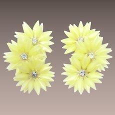 Pale Yellow Soft Petal Flower Ear Climbing Earrings