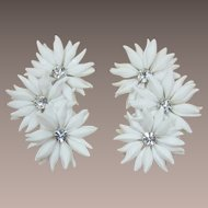 White Soft Petal Flower Ear Climbing Earrings