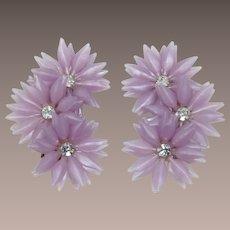 Orchid Lavender Soft Petal Flower Ear Climbing Earrings