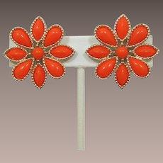 Emmons Bright Orange Flower Earrings